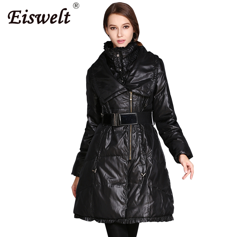 EISWELT New Arrive Women Clothing Spring Autumn Thin   Down   Jacket Winter Long   Down   Jacket Natural Collar Outwear   Down     Coat   Female