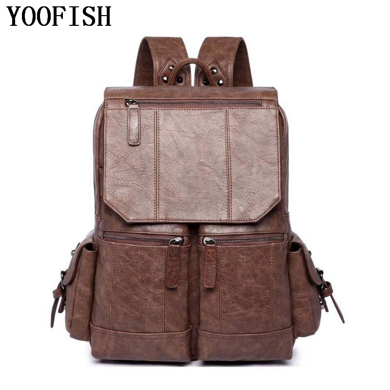 YOOFISH  High Quality  Fashion Casual PU Leather Women Men Backpack Bags For Lady Rucksack Teenagers schoolbags laptop backpackYOOFISH  High Quality  Fashion Casual PU Leather Women Men Backpack Bags For Lady Rucksack Teenagers schoolbags laptop backpack