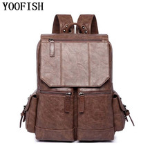 YOOFISH  High Quality Fashion Casual PU Leather Women Men Backpack Bags For Lady Rucksack Teenagers schoolbags laptop backpack