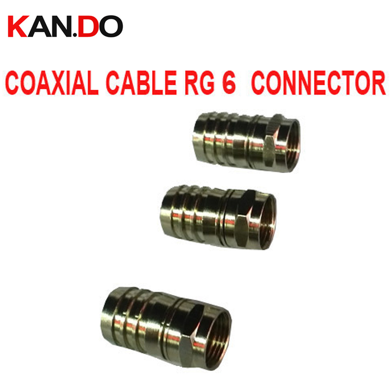 20pcs /lot CATV RG 6 connector Coaxial cable feeder F connector RG6 F connector TV cable connector RG 6 for telecom use