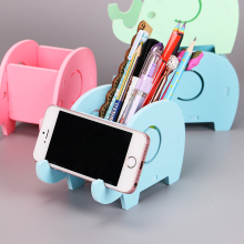 1PC Creative Wooden Cute Students Elephant Multifunctional Storage Manual Assembly Pen Holder Bracket Office Supplies