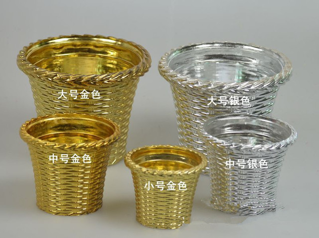 Freeshipping Plastic Gold-plating Big Large Size Easy Matching Flowerpots Vase Flowerpot Containers Flower Pot & Freeshipping Plastic Gold plating Big Large Size Easy Matching ...
