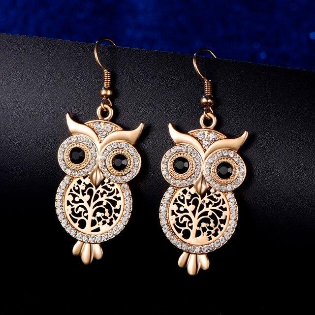 Owl Crystal Tree of Life Earrings