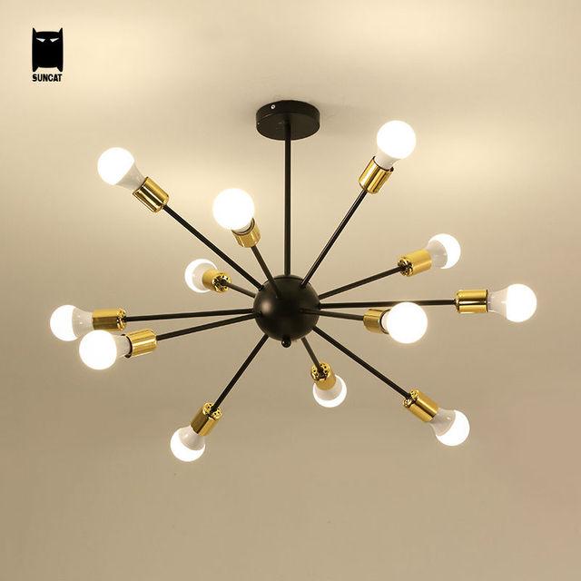 noir fer m tal plafond luminaire art d co nordique. Black Bedroom Furniture Sets. Home Design Ideas