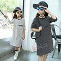 Camisa listrada Vestido Para As Meninas 4 5 6 7 8 9 10 11 12 13 Anos Vestidos Para Adolescentes Meninas Roupas de Manga Longa Crianças Vestido de Outono
