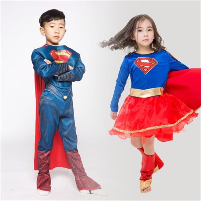 Halloween American Superman Costume Children's Day Captain America Boys and Girls Fancy Dress Dance Shows Superheroes