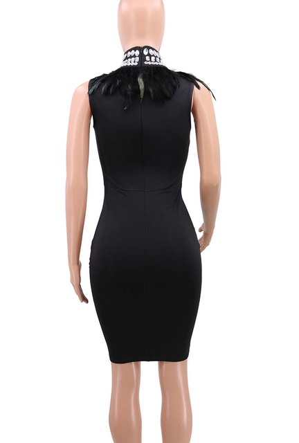 Black sparkly bandage dress with feathers