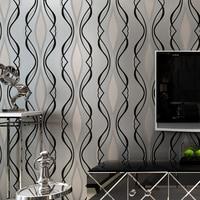 3D Wallpaper Modern Simple Black Curve Embossed Non Woven Wallpaper Living Room TV Sofa Backdrop Wall