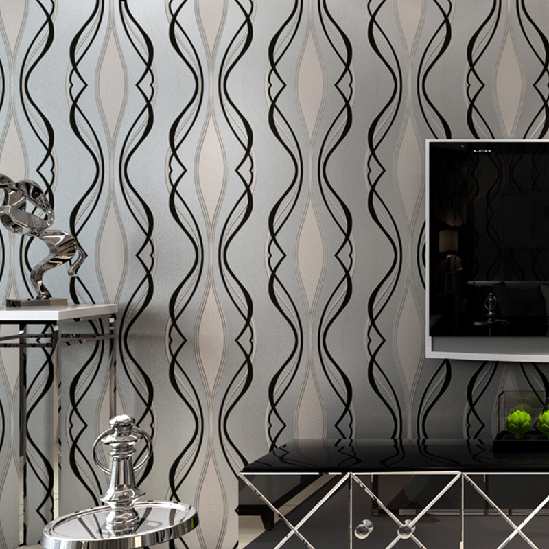 Black Curve Wallpaper Modern 3D Embossed Stripe Wall Paper For Living Room TV Sofa Background Wall Covering Home Decor Wallpaper simple striped lines modern wall papers home decor wallpaper for living room bedroom tv sofa background wallpaper for walls 3 d