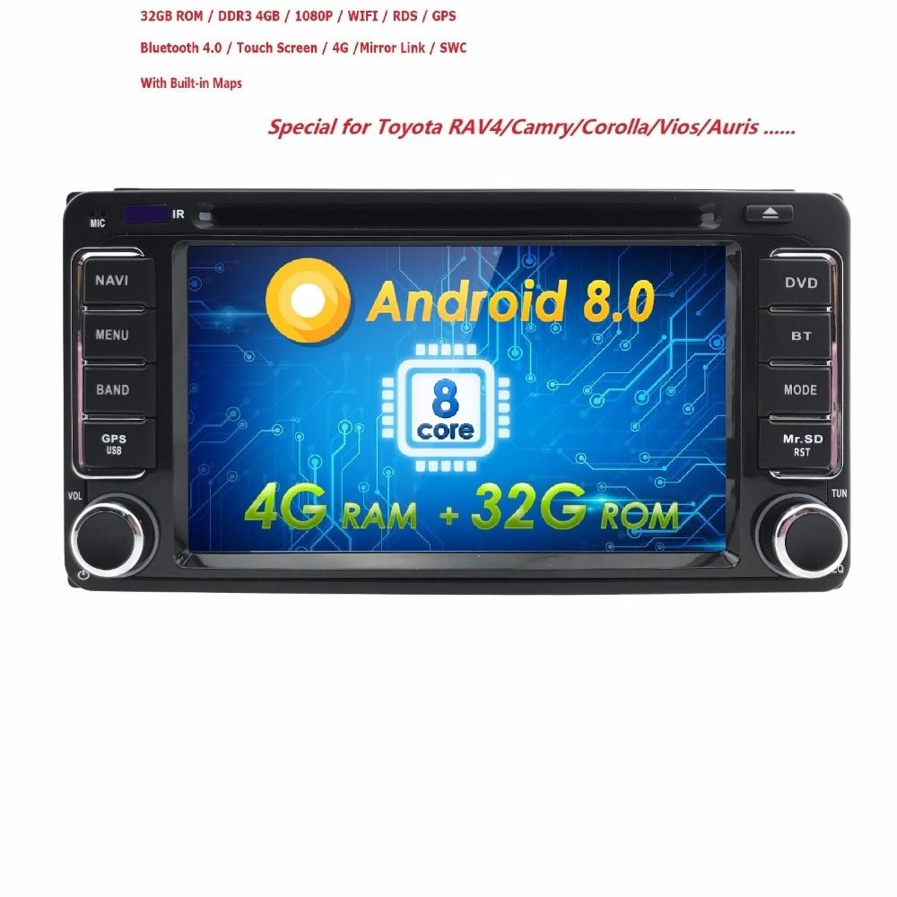 Hizpo Android8.0 8Core 2DIN Car DVD GPS for Toyota Terios Old Corolla Camry Prado RAV4 fortuner radio 4G wifi Capacitive 800*480 kingston kingston sv300s3n7a 120g