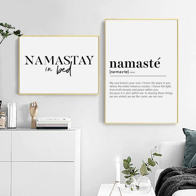 Us 2 66 20 Off Namastay In Bed Prints Yoga Decor Bedroom Modern Wall Art Namaste Definition Canvas Painting Yoga Artwork Zen Prints In Painting
