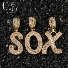 Uwin Baguette Letters Cz Custom Name Pendant Necklaces&Pendant Bling Cubic Zirconia Full Iced Out HipHop Jewelry Gift
