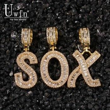 Uwin Baguette letras Cz personalizado Colgante para Nombre collares y colgante Bling Cubic Zirconia lleno Iced Out HipHop regalo de joyería