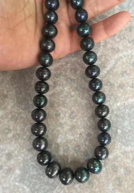 Cascade aaa ronde 10-11mmtahitien noir vert perle necklace18inch 925 argentCascade aaa ronde 10-11mmtahitien noir vert perle necklace18inch 925 argent