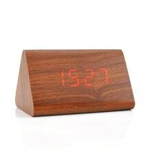 Madera calendario electrónico de escritorio de madera reloj despertador digital pantalla led pequeño relojes de madera inicio casa decor decoración
