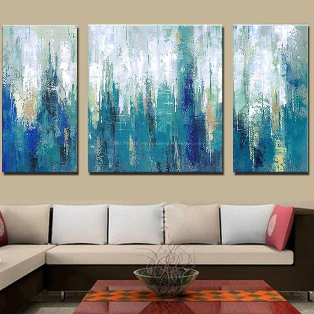 Купить с кэшбэком Modern Abstract Art Handmade Three Panels Blue Color Canvas Oil Painting Blue Abstract Wall Picture Living Room Home Wall Decor