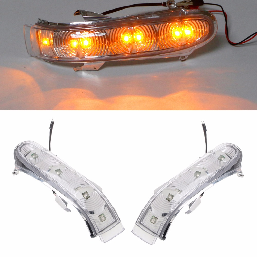 HNGCHOIGE 1 Pair 7 LEDs Car Front Turn Signals Lights Side Mirror Turn Signal Led For Mercedes W220 W215 CL S Class Amber Light