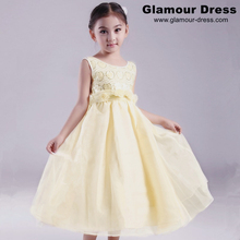 HG Princess Lining Cotton Girl Party Dress For 2-12 Years Kids Formal Dresses Sequined Top Kids Evening Gowns With Flowers 032F