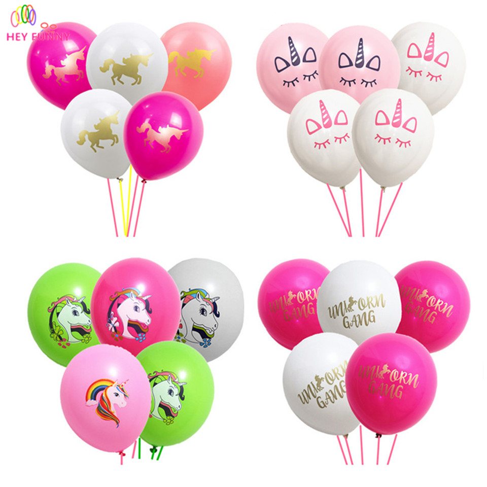HEY FUNNY 15pcs/lot Unicorn Balloons Party Supplies Latex Balloons Kids Cartoon Animal Horse Float Globe Birthday Party Decor