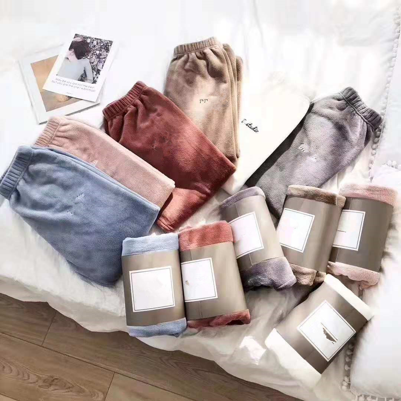 Autumn Winter Women Sleep Bottoms Coral Fleece Sleeping Trousers Warm Soft Elastic Waist Casual Home Wear