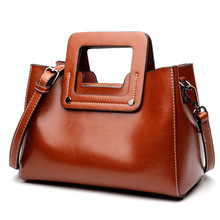 Women's new leather fashion handbag Europe and American style oil wax leather cross section square Messenger shoulder bag