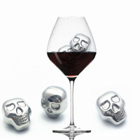 5pcs large Cool Skull Shaped Ice Cubes Stainless Steel Whiskey Ice Drink Wiskey/wine/beer Cooler Appliances for Bar Accessories