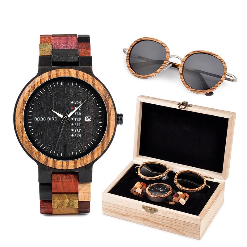 BOBO BIRD Wooden Sunglasses Men Watches Ladies in Suit Present Box Gift Wood Quartz Wristwatch Male