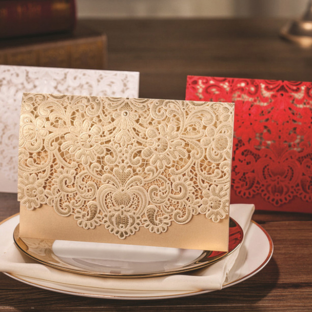 50 Pieces Lot Clic Lace Flower Design Invitation Card Personalized Printing Romantic Gold