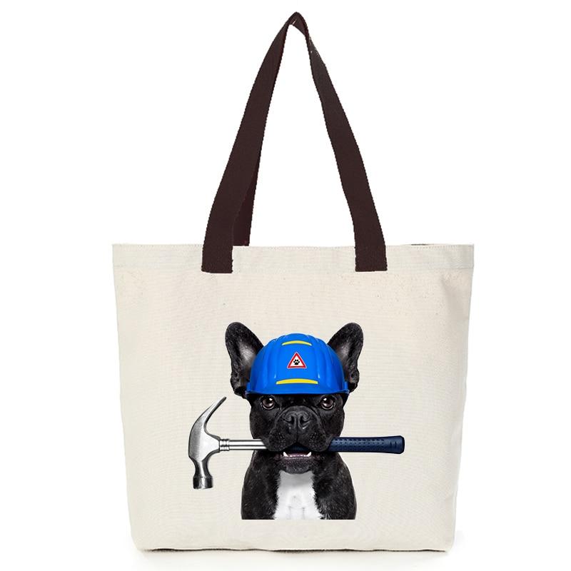 Origina cool dog series canvas custom tote bag customize eco bags diy logo shopping bag with logo  Dachshund Shepherd Dog Poodle (9)