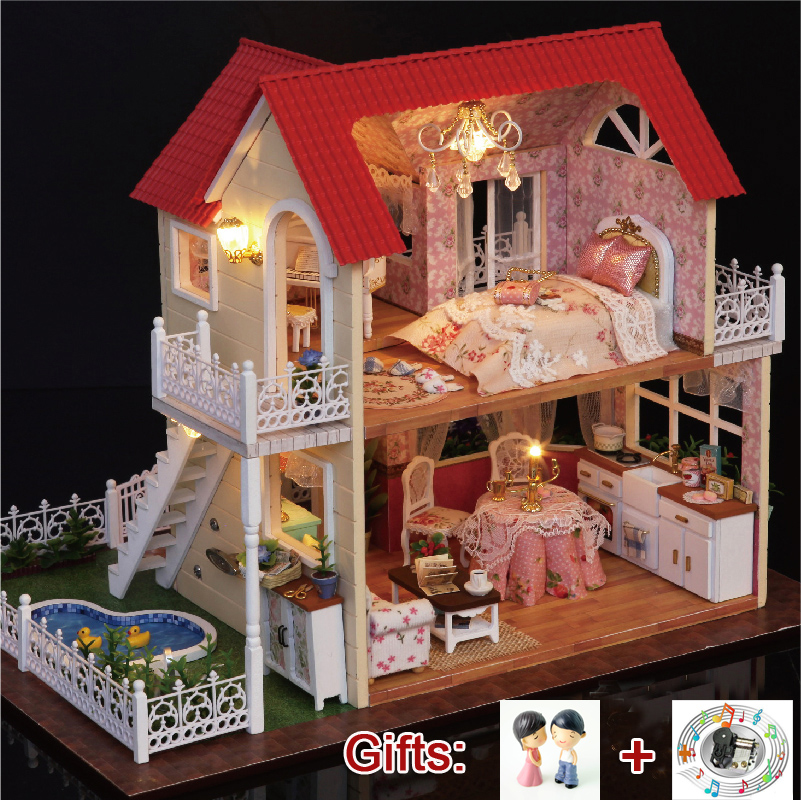 DIY Large Wooden Dollhouse Miniature Doll House Model Kits PRINCESS COTTAGE Toy House Casa Girl Birthday Christmas Gift