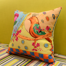 American Style Cotton Back Cushion Sofa Cushion Cover Bird Bed Bag Pillowcase with Core Free Shipping Hot Sale