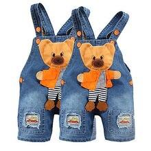 Girls Boys Kids Bear Jeans Rompers Overalls Straps Playsuit Bottoms Jumpsuit