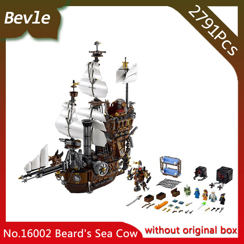 LEPIN 16002 4695Pcs Movie Series Pirate Ship MetalBeard Sea Cow Model Building  Blocks Bricks Compatible 70810 Gift lepin movie pirate ship metal beard s sea cow model building blocks kits marvel bricks toys compatible legoe