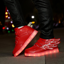 Children Glowing Sneakers SUB Rechargeable Angels Wings Luminous Shoes for Boys Six Colors