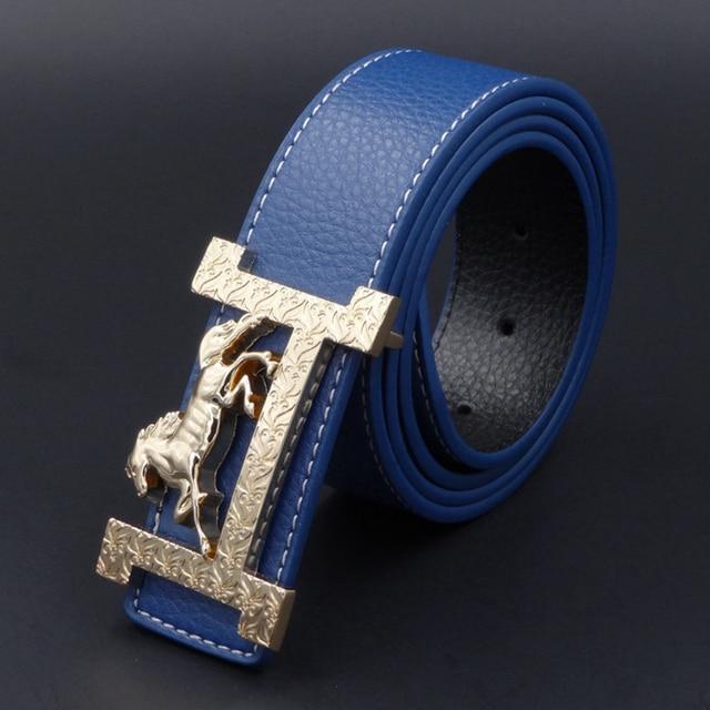 H Designer Luxury Brand Belts for Mens Genuine Leather Male Women Fashion Jeans Vintage Fashion High Quality Strap Waist Blue