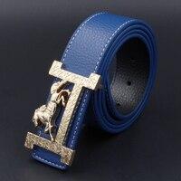 H diseñador de marca de lujo cinturones para hombres Cuero auténtico mujeres masculinas moda Vaqueros vintage moda de alta calidad Correa cintura azul