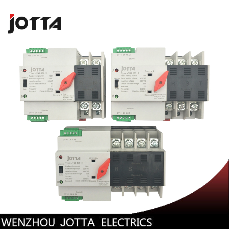 Jotta W2R-2P/3P/4P Mini ATS Automatic Transfer Switch 100A 2P/3P/4P Electrical Selector Switches Dual Power Switch Din Rail Type fs22sm 10 to 3p