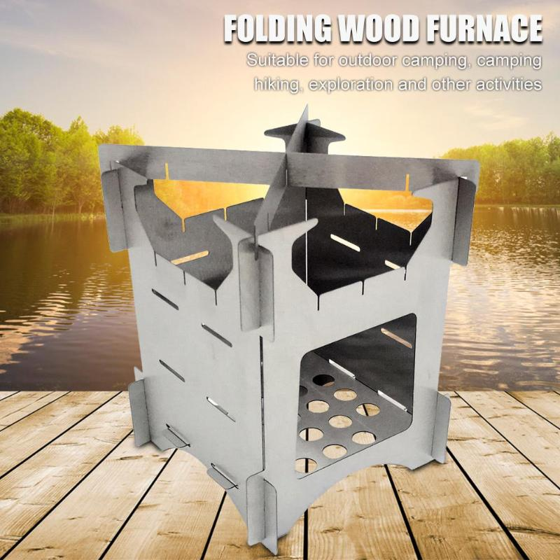 Outdoor Camping Stainless Steel Folding Wood Stove Portable Travel Picnic Stove Outdoor Tools Camp Cooking Supplies image