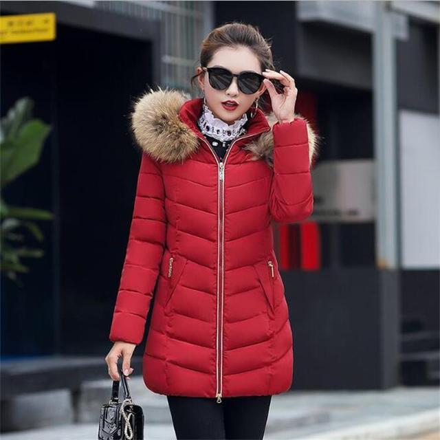 d52710052a8 Winter Women Parkas Padded Coat Long Thick Female Overcoat Large Size Faux Fur  Collar Snow Outerwear Oversized 3xl 4xl 5xl 6xl