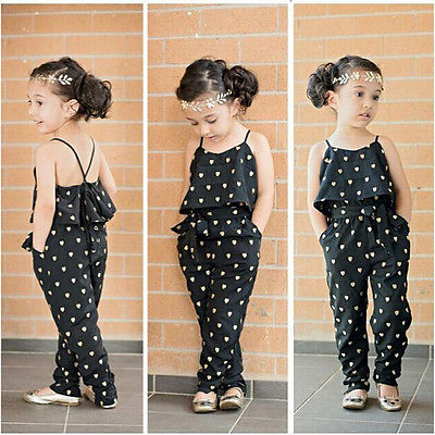 2016 Hot-Selling Baby Kids Girls One-piece Sleeveless Heart Dots Bib Playsuit Jumpsuit T-shirt Pants Outfit Clothes 2-7Y 2016 hot selling baby kids girls one piece sleeveless heart dots bib playsuit jumpsuit t shirt pants outfit clothes 2 7y