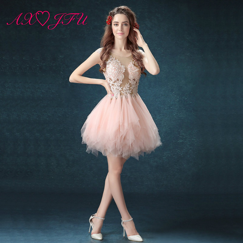 AXJFU pink lace illusion Robe De Soiree Short o neck white Evening Gowns grey lace short