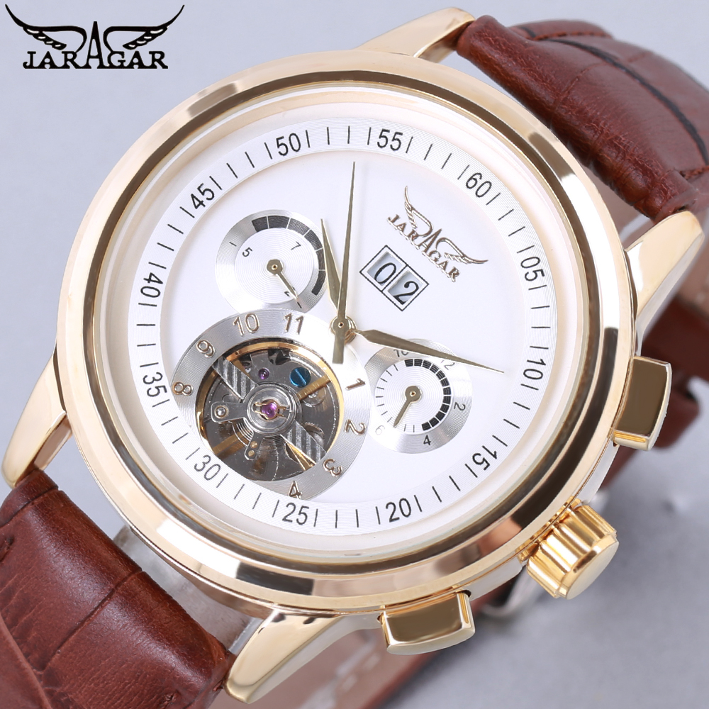 где купить JARAGAR Men Mechanical Watches Mens Watch Top Brand Luxury Fashion Skeleton Automatic Wrist Watch Clock Men Relogio Masculino по лучшей цене