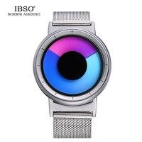 IBSO Mens Watches Top Brand Luxury Steel Mesh Strap 2017 Hide Watch Head Fashion Creative Quartz