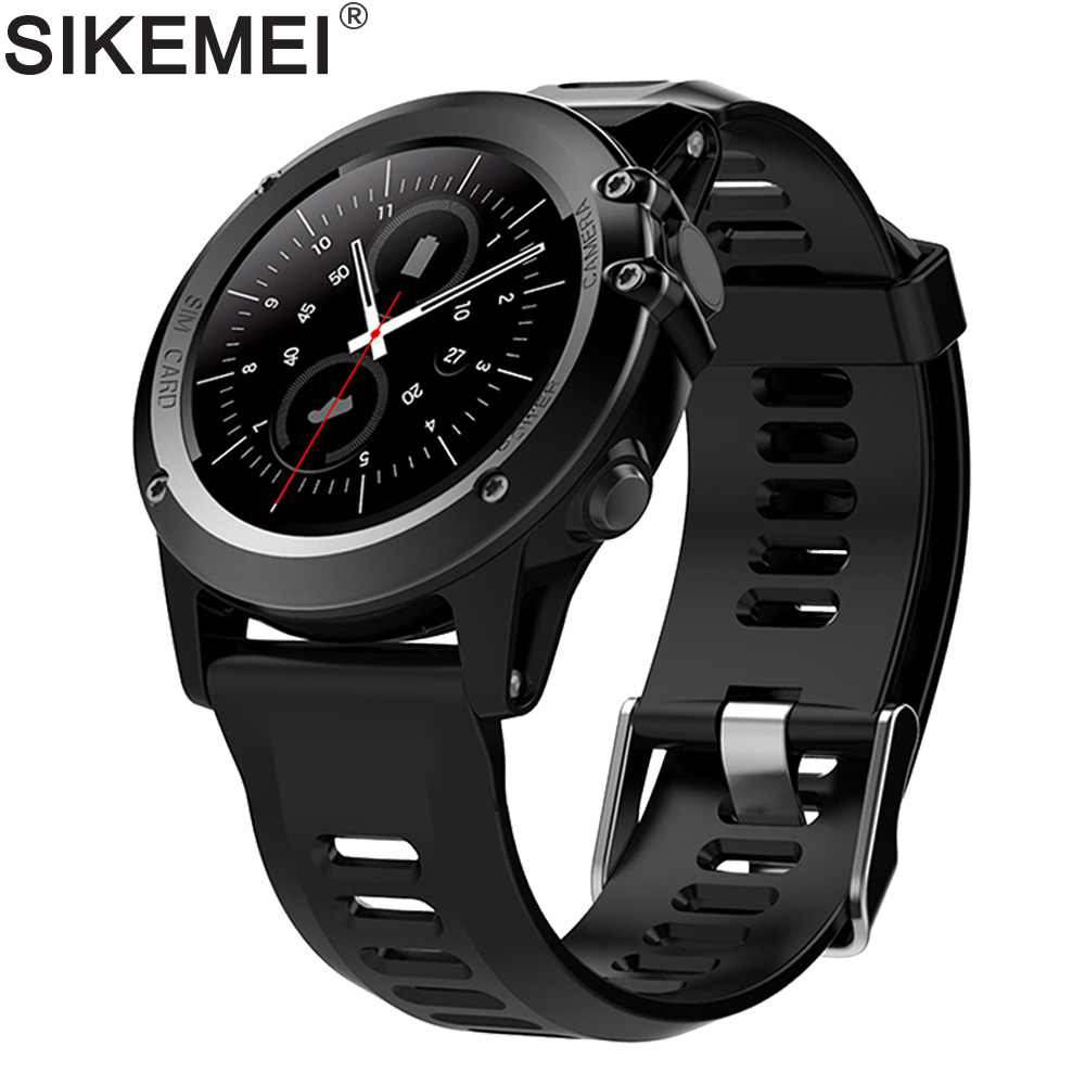 SIKEMEI Android GPS Smart Watch Sport Waterproof with Camera Round Screen support 3G SIM Heart Rate WIFI Altitude Air Pressure