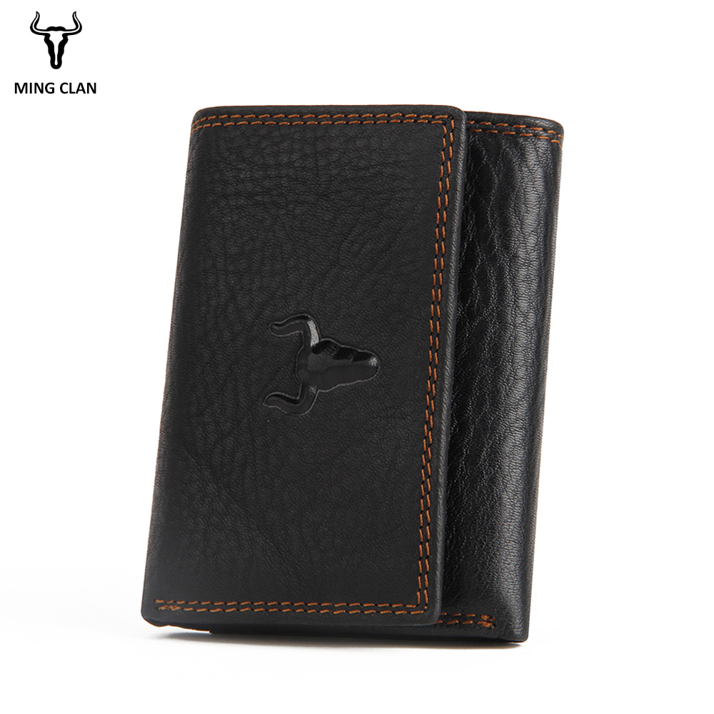 Black Genuine Leather Mens Wallet Bifold Center Flap Thin Card Holder