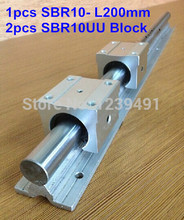 1pc SBR10 L200mm linear guide + 2pcs SBR10 linear bearing block cnc router 16mm linear block shafts sc16uu scs16uu cnc router diy cnc parts metal linear ball bearing pellow block linear unit shafts