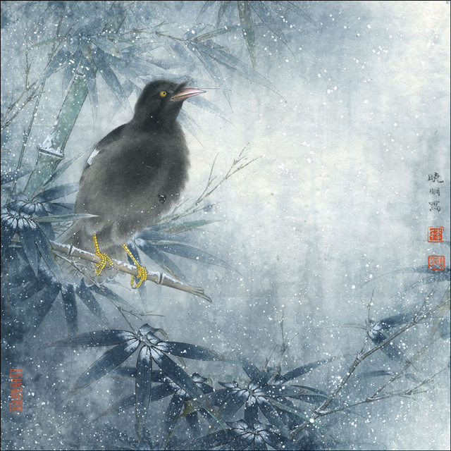 Chinese break bird winter bamboo scenery oil painting canvas prints printed on canvas home wall art