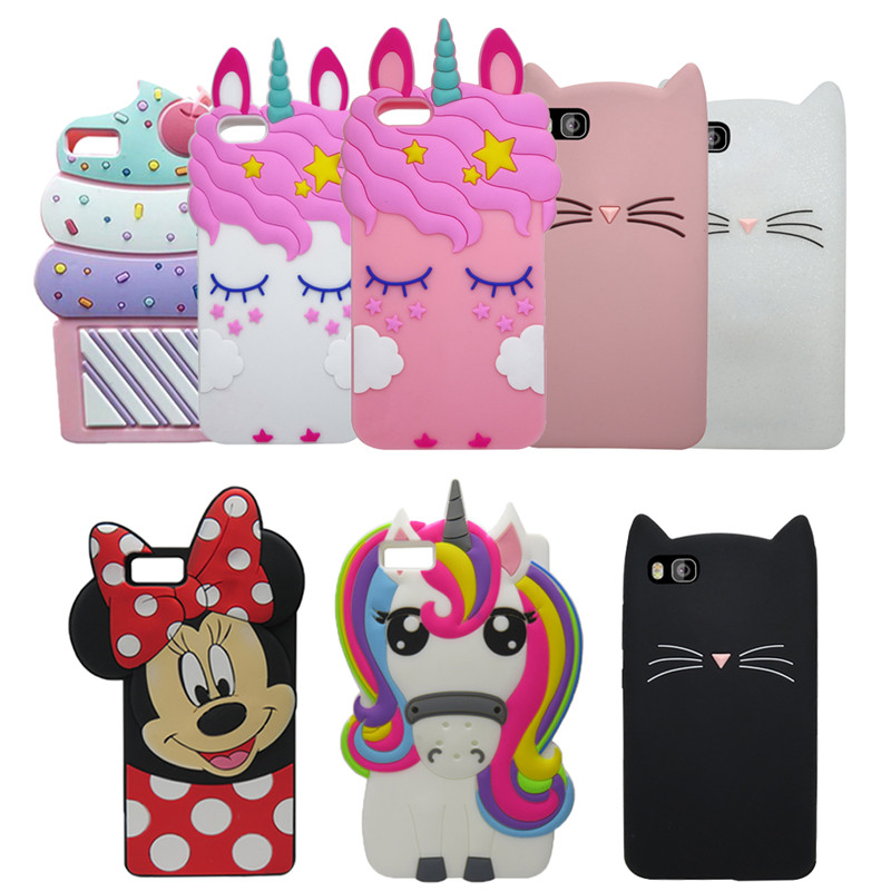 377ef3b3 For Huawei Ascend P8 Lite 3D Cartoon Color Ice Cream Cup Silicon Cover  Phone Case