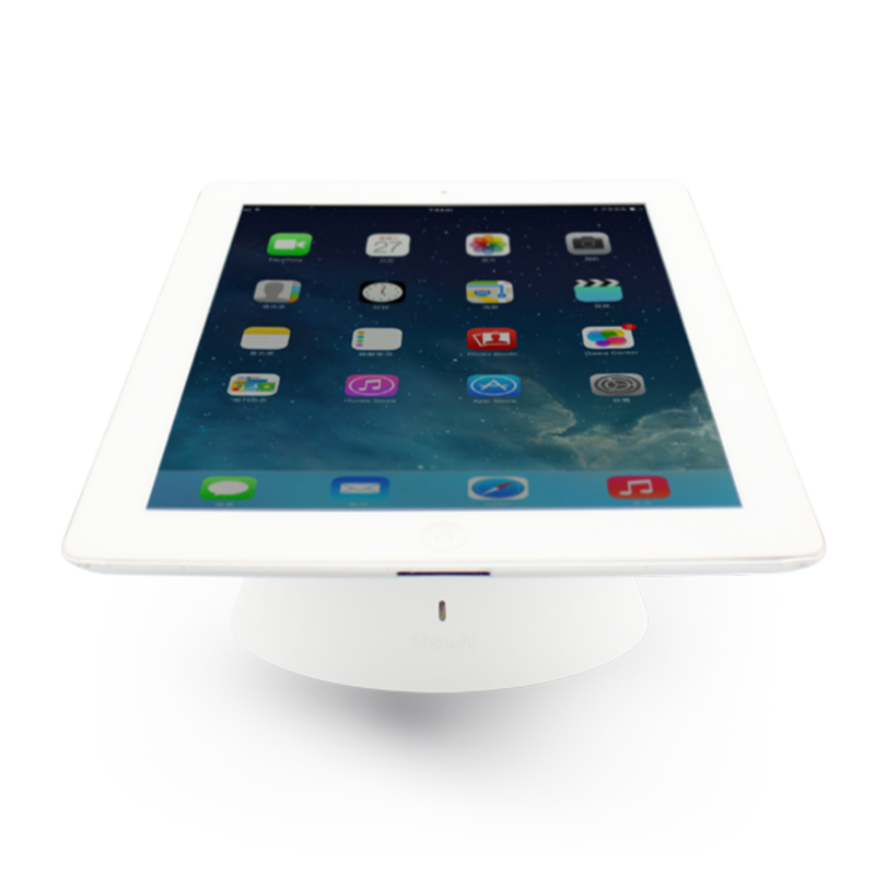 Retail ipad anti theft display tablet security stand samsung tablet table mount ipad alarm holder charging for all tablets white