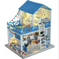 DIY Wooden Handcraft Miniature Provence Dollhouse Voice activated LED LightΜsic with Cover Doll House Toys For Children